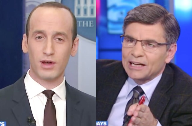 Stephen Miller, left, with George Stephanopoulos.